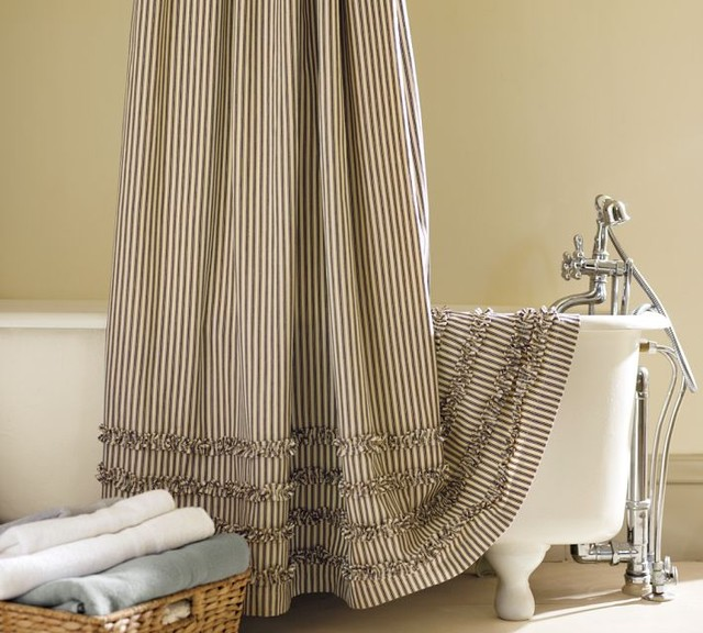 Ticking Stripe Ruffled Shower Curtain Contemporary Shower Curtains By Pottery Barn