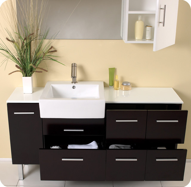 """55.5"""" Serio Single Vanity with Mirror and Cabinet (FVN6143ES) modern"""