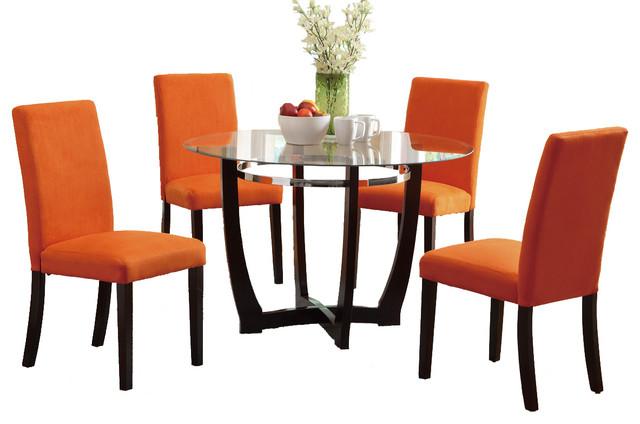 5 PC Round Glass Top Dining Set Chair Espresso Base Orange Contemporary