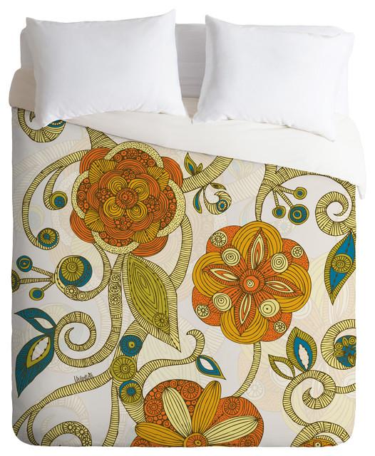 Valentina Ramos Orange Flowers Duvet Cover eclectic-duvet-covers