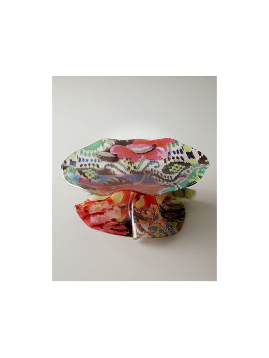 Tracy Porter - Tracy Porter Acrylic Cake Stand - Uniquely different cake stand with the look of free-form semi-transparent glass adds vibrant color and exuberant patterns to table settings or buffet service. Hand formed of acrylic. Hand painted. Break resistant and food safe. Clean with a soft clo...