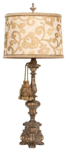 Unique Embroidered Table Lamp with Tassels traditional-home-decor