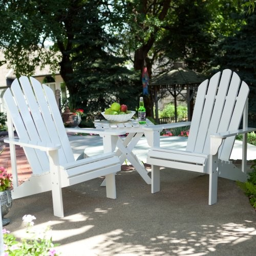 Coral Coast Adirondack Chair Set with FREE Side Table - White contemporary-outdoor-chairs