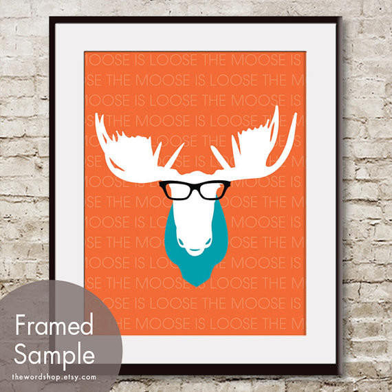 The Moose Is Loose Print By THE WORD SHOP modern nursery decor