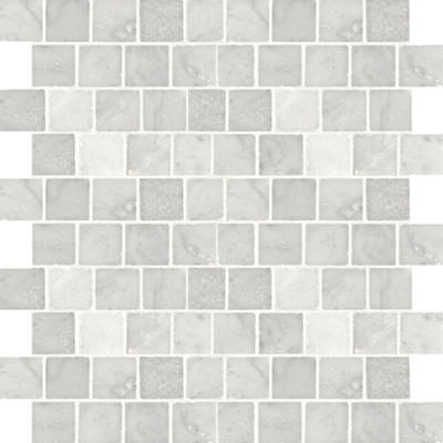 Broken Joint Carrara Mosaic Tile traditional bathroom tile