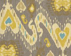 Gray, Yellow & Aqua Ikat Fabric eclectic-upholstery-fabric