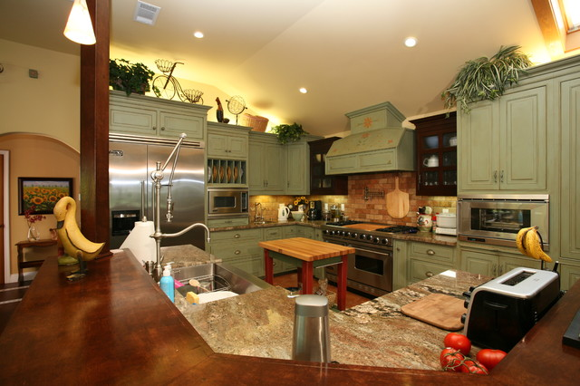 Country Green Kitchen - Rustic - Kitchen - other metro - by Pacific Coast Custom Design