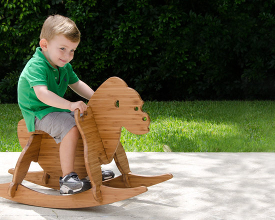 The Wee Rock Gorilla - This modern interpretation of the classic rocking horse is made from beautiful bamboo plywood that is made with a soy based resin and finished with a food-safe butcher block conditioner.  It's 6 parts assemble in under 5 minutes and do so with no tools or any metal hardware (no small parts ever).