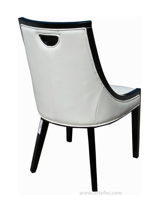 ARTEFAC - 2 - Accent Leather Dining Chairs, White Leather with Black Frame - Blending classic and transitional style, This comfortable and stunning chair will look glamorous in any kitchen or dining room. Tufted seat back with handle space at the back of the chair. Commercial grade bonded leather, Kiln dried solid hardwood frame. High Density Foam with Pirelli straps. Comes fully assembled for commercial and residential use.