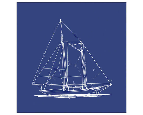 Big Fish Sailboat Blueprint In Blue I Wall Art