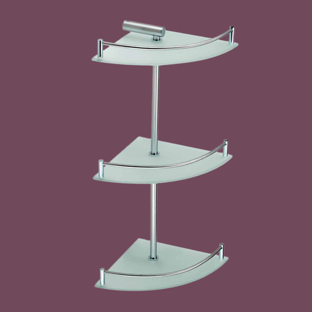Corner Shelves Frosted Glass Stainless Steel 3 Tier Corner Shelf 13540 Transitional Bathroom