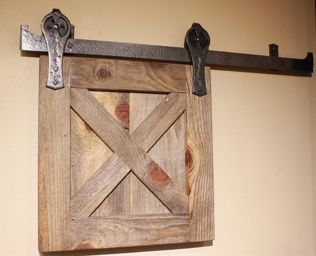 Ponderosa forge barn door track system rustic barn for Rustic hardware barn doors