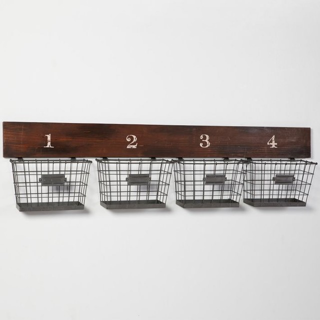 Wood And Wire Wall Multi Basket Eclectic Storage And Organization