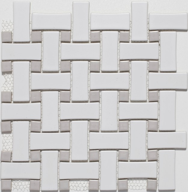 Grey Mosaic Bathroom Floor Tiles : Ceramic white grey basketweave mosaic tiles contemporary