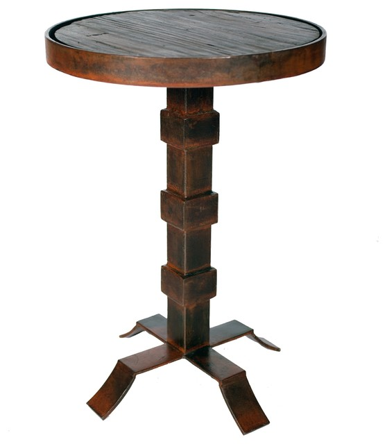 Round iron accent table with reclaimed dark wood top for Iron and wood side table