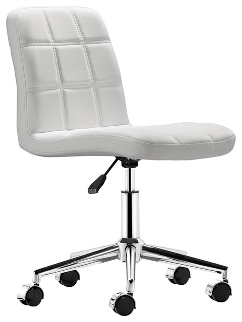 zuo agent white armless office chair contemporary