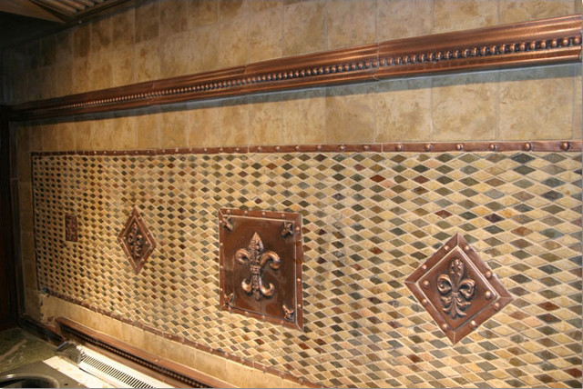 Handcrafted mosaic mural for kitchen backsplash traditional-tile