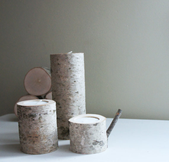 Natural white birch wood candleholders by urban forest for Kitchen cabinets lowes with birch log candle holders