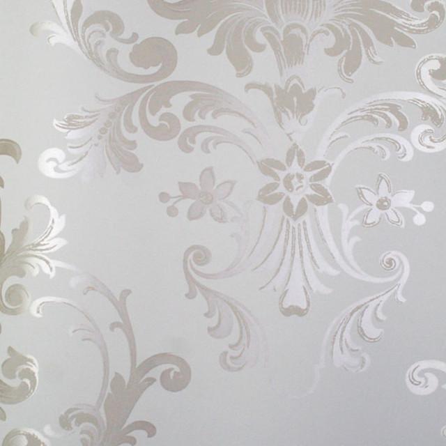 astek mood living equus silver on white wallpaper