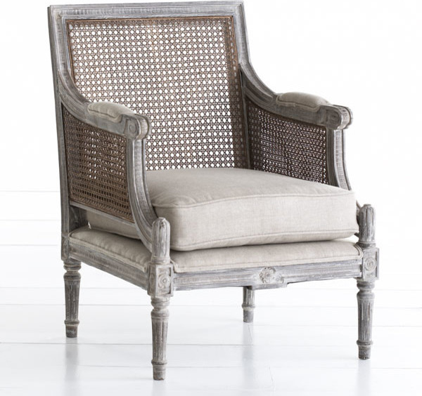 Linen and Cane Back Chair Traditional Armchairs And