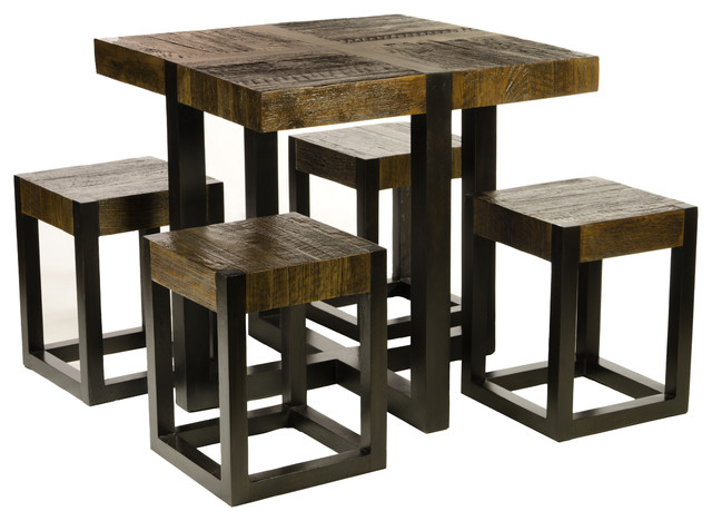 Unusual teak dining table 4 matching stools great for for Small space table and chair set