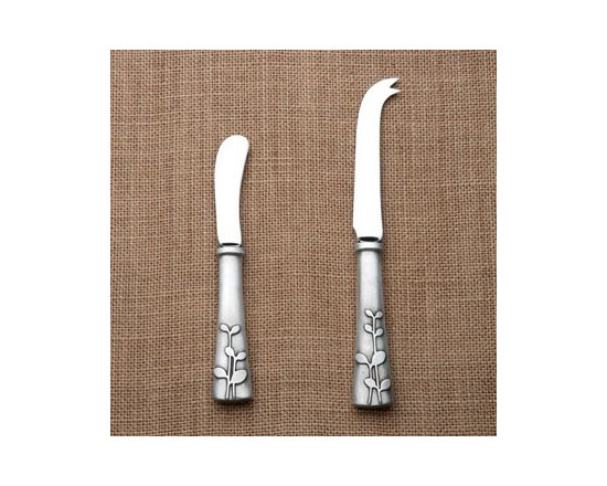 Beehive Laurel Cheese Knife & Spreader - The heirloom quality Cheese Knife and Spreader by Beehive are handcrafted with lead-free pewter handles and stainless steel blades for years of use and enjoyment.