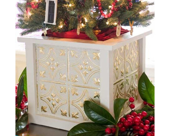 Unique Applications with Tin Ceiling Tiles - Make a DIY christmas tree holder out of beautiful antique tin tiles!