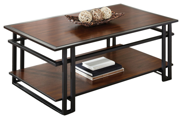 Steve Silver Micah Cocktail Table in Black Metal and Cherry traditional-coffee-tables