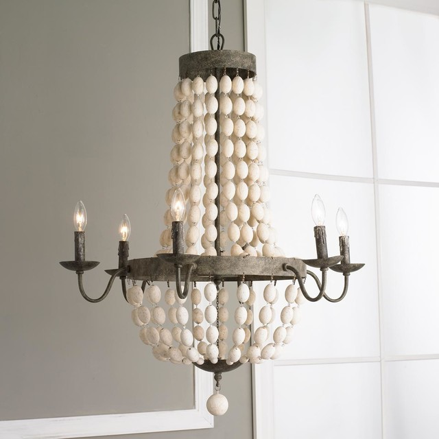 White Wood Beads And Iron Basket Chandelier