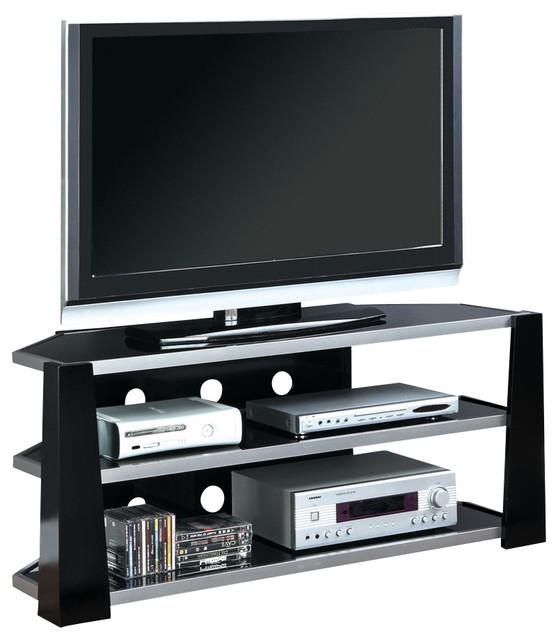 Monarch Specialties I 2010 Glossy Black / Silver Metal 48 Inch TV Console - Contemporary ...