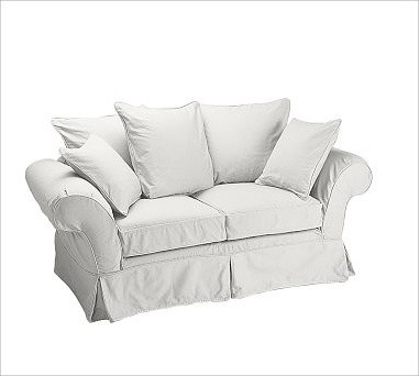Charleston Love Seat Slipcover Denim Warm White