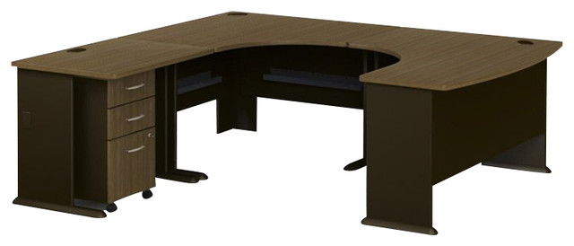 Bush Series A 4-Piece U-Shaped Left-Hand Computer Desk in Sienna Walnut transitional-desks-and-hutches