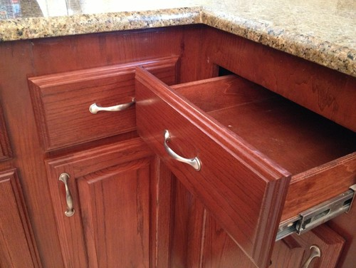 corner kitchen drawers will not open with hardware installed