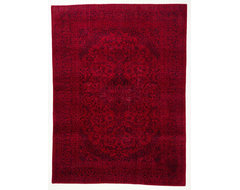 Red Overdyed Oriental  Rug with Border -rugs
