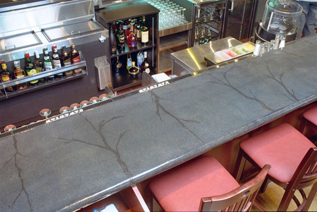 Concrete bar tops indoor pub and bistro tables for Concrete bar top ideas