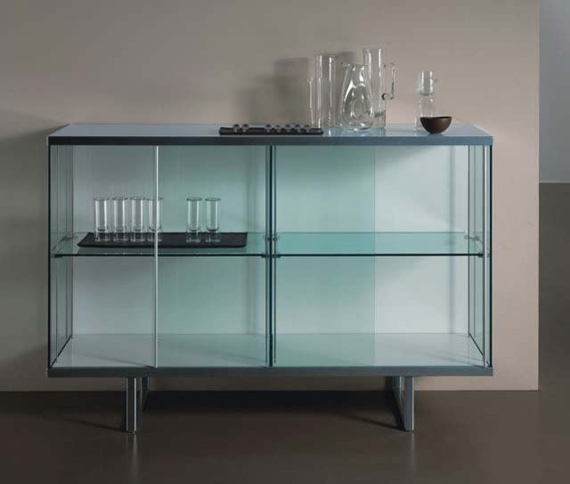 Broadway aluminum glass high storage unit by tonelli for Sideboard glasfront