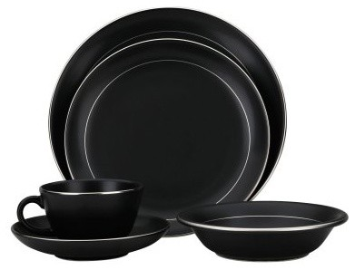 Reed and Barton Corp Tiago Matte Charcoal 5-Piece Place Set modern-dinnerware
