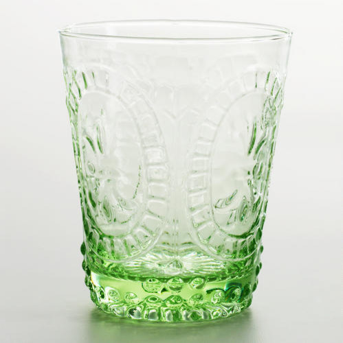 Green Fleur-de-Lis Double Old Fashioned Glass traditional-wine-glasses