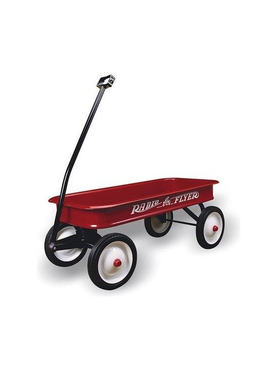"Radio Flyer Products - Radio Flyer Products - Classic Red Wagon - Parents Magazine Toy Hall of FameLargest steel wagon.  Extra-long handle for easy pulling.  Durable steel wheels with real rubber tires for a quiet ride.  Handle folds under for easy storage.  No-pinch ball joints keeps fingers safe.  ""No-Scratch"" edges keep fingers safe.  Non-tip turning radius prevents tipping.  Controlled turning radius prevents tipping.  For ages over 1-1/2"