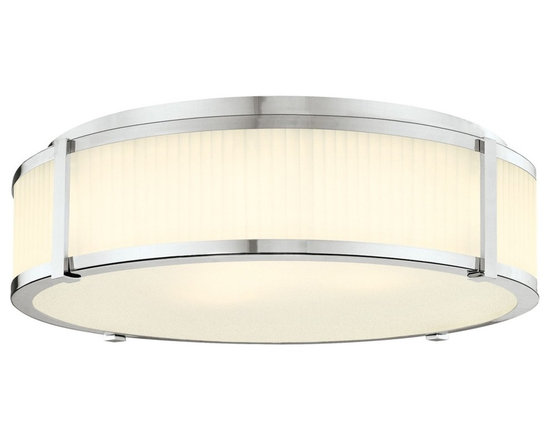 """Sonneman - Sonneman Roxy 22"""" Surface Ceiling Light Fixture - The textured glass is mesmerizing and matched with slender gleaming details. This Sonneman light fixture has a clean and refined look. Polished nickel finish. Etched fluted glass. Flushmount style. Takes four 60 watt medium base bulbs (not included). 6 1/2"""" high. 23"""" diameter. Canopy has 20"""" diameter.  Polished nickel finish.  Etched fluted glass.  Flushmount style.  Takes four 60 watt medium base bulbs (not included).  6 1/2"""" high.  23"""" diameter.  Canopy has 20"""" diameter."""