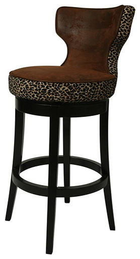 Augusta Wrangler Leopard 30 Inch Wood Swivel Bar Stool