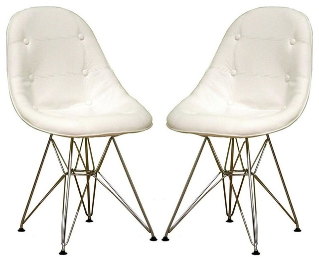 baxton studio upholstered bucket chairs with chrome bases