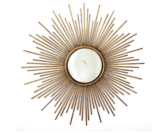 Sunburst Antiqued Gold Wall Mirror by Two's Company® -