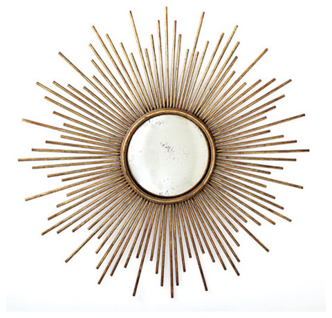 Sunburst Antiqued Gold Wall Mirror by Twos Company eclectic mirrors