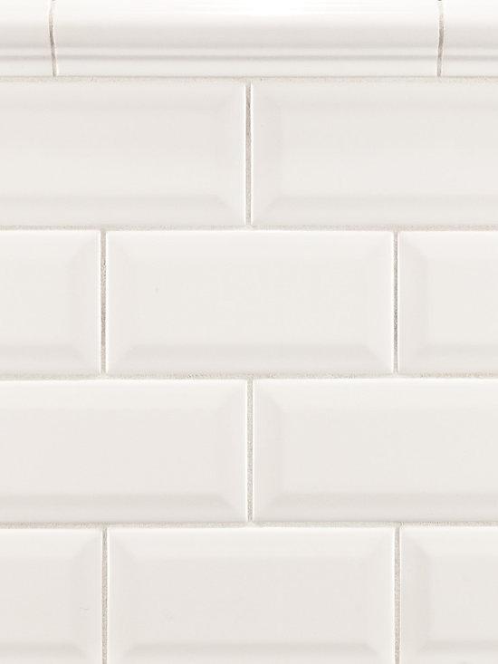 "Ceramic - ANN SACKS Arden 3"" x 6"" beveled ceramic field and 1-1/2"" x 8"" cap molding in white"