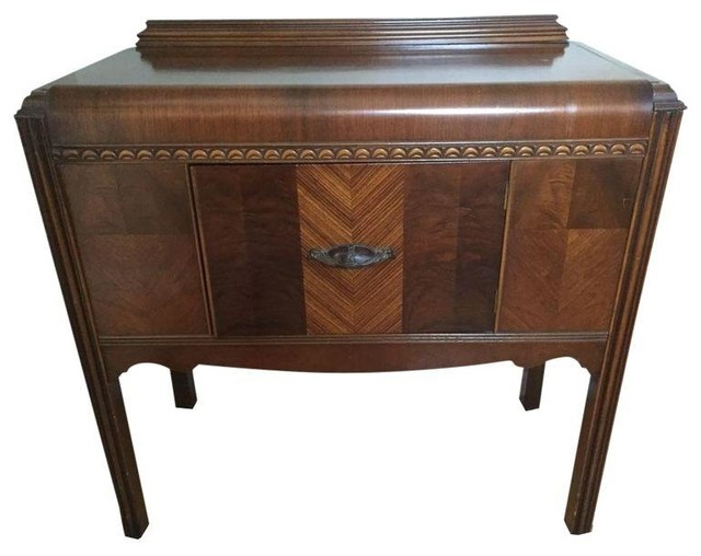 Small 1940s Waterfall Dining Buffet Traditional Buffets And Sideboards