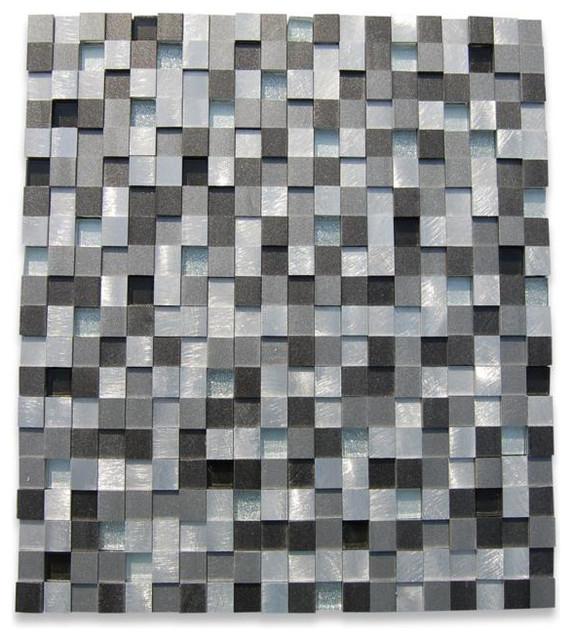Industrial 3d Graphite Peak Metal Tile contemporary-tile