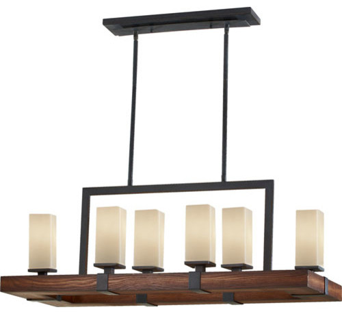 Madera Antique Forged Iron with Aged Walnut Six-Light Island Pendant contemporary-pendant-lighting