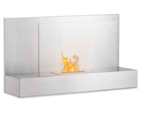 Moda Flame - Mira Wall Mounted Ethanol Fireplace - Stainless Steel - With a simple yet chic design, the Mira wall mounted modern fireplace has a fine all around steel body with a tempered glass sheet to act as a barrier from the real dancing flame.