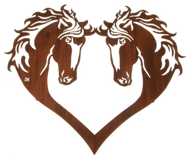 Horse Head Heart 28-inch Western Metal Wall Art rustic-wall-sculptures